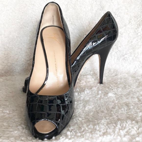 giuseppe zanotti shoes black snakeskin peep toe pumps poshmark rh poshmark com